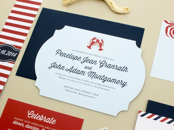 Nautical Wedding Invitation, Navy Wedding Invites, New England Wedding, Lobster Invitation, East Coast Beach Wedding Invitations SAMPLE