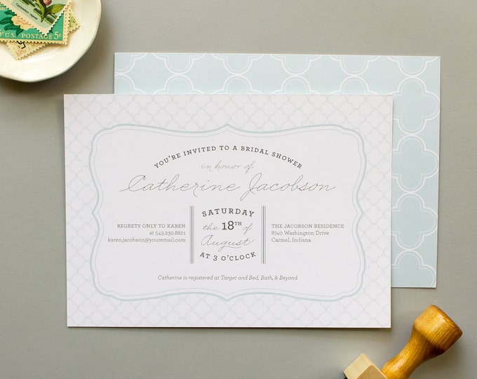 Bridal Shower Invitation, Modern Party Invite, Bride to be, Blue Invitations, Personalized Shower Invites