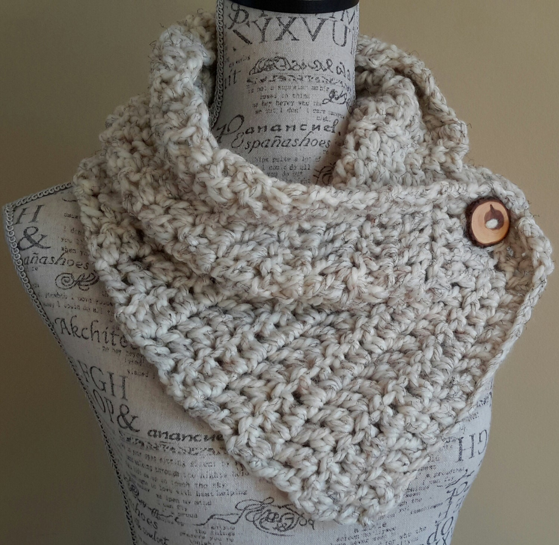 Crochet Cowl. Scarf. Button Scarf. Oatmeal Scarf. Katniss
