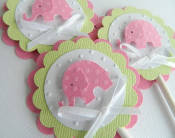 Pink Elephant Cupcake Toppers Pink Elephant Baby Shower Baby Shower Cupcake Toppers Pink Lime Cupcake Toppers Baby Girl Shower • Set of 12
