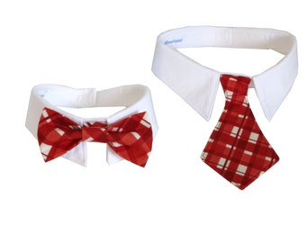 Dog/Cat red plaid necktie/bowtie on a shirt style collar