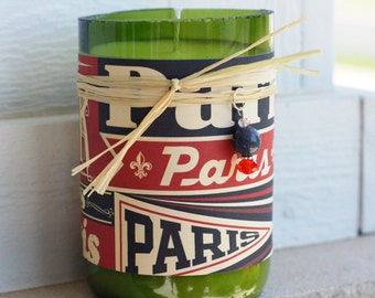 Paris Typography Subway recycled soy wine candle - Brandied Pear