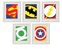 Superhero Wall Art, Superhero logos, Superhero Art, Boys Decor, Play Room decor, Instant download (S2)