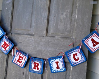 July 4 Banner, Patriotic Banner, fourth of July Garland