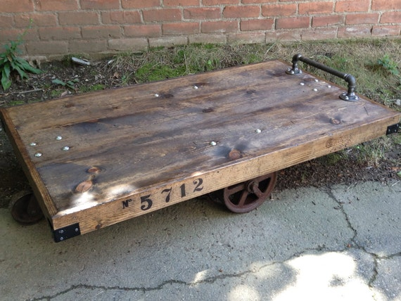 Items Similar To Industrial Railroad Cart Coffee Table On Etsy