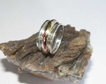 Hammered Handcrafted .925 Sterling Silver Spinner Ring Size-Custom Size
