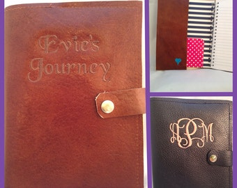Custom Leather Journal Cover. Monogrammed Leather Journal 3rd wedding anniversary gift