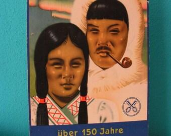 Original antique German cardboard Sign Advertisement Ad Board 1930s Tabacco Crüwell Tabak wall hanging display