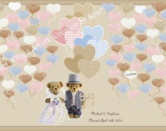 Teddy Bear Wedding, wedding book option,  wedding guest book,   guest book,  wedding book ideas,
