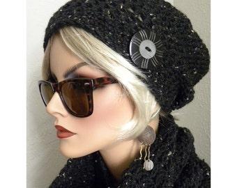 Black Tweed  hand crocheted  Boho Slouchy Beanie hat wool blend yarn antique button  Women's teens fall  fashion