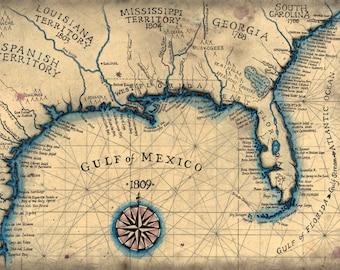 gulf coast 1809 southeast map art 13 5 x 19 old maps