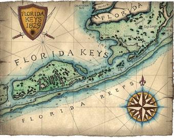 Florida Keys Map Art c.1829, Key West Map, Key West Florida, Islamorada, Florida Keys, Key Largo, Bahia Honda, Old Florida Maps, Florida