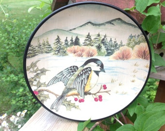 Bowl by TII Collections Winter Scene Vintage Bowl Bird Bowl