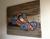 Race Car,21x18,Pallet Art,Rustic Wall Art painting,racing car decor,reclaimed wood,nascar,Boys,children,racer,sports,Race car decor,