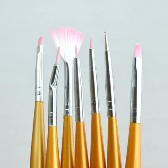 7pcs Nail Art Brushes Uv Gel Painting Drawing Dotting Pen