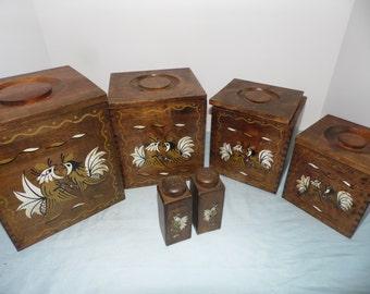 Holmar Vintage  Mid Century  Wood Nesting Canister  Set Rooster Birds,