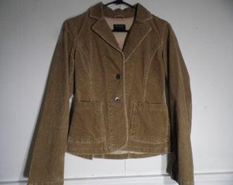 American Eagle Outfitter xs/TP Blazer, Jacket Tan Corduroy Stretch 2 Button