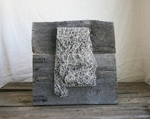 """String Art 12""""x12"""" Alabama string art, topographic, reclaimed barn wood or stained wood"""