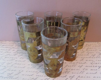 Vintage Shot Glasses, Brass Barware, Set of 6