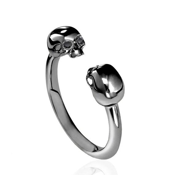 Double skull black gold amp black diamond ring by izandco on etsy