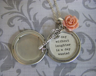 Silver Locket Key and Rose Silver Chain with quote A day without laughter is a day wasted unique gift USA made quick ship