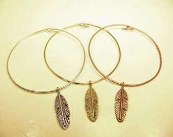 Native Feather stackable wire bangle bracelet