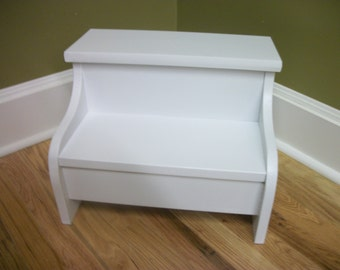 Kids Painted Wooden Step Stool White Free Shipping