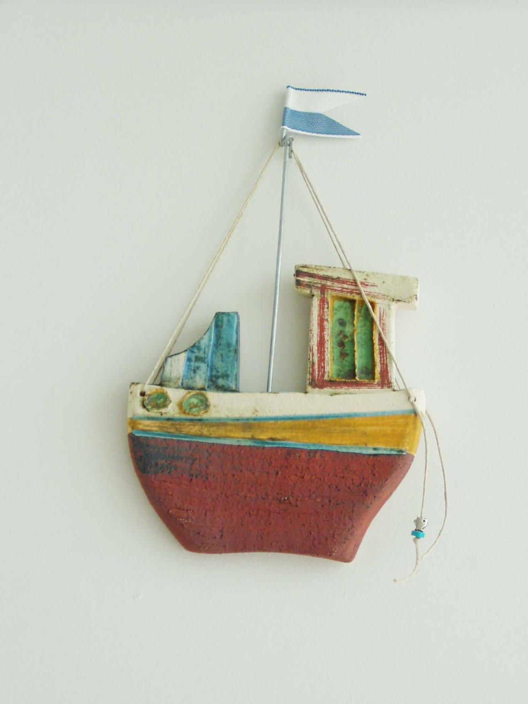 Ceramic Fishing Boat Wall Decor Ceramic Boat Greek Fishing