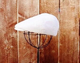 White linen newsboy hat, baby newsboy cap -  christening, baptism, ring bearer