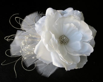 White(Ivory) Bridal Flower Hair Clip Wedding Accessory Crystals Feathers Bridal Fascinator Bridal Accessory