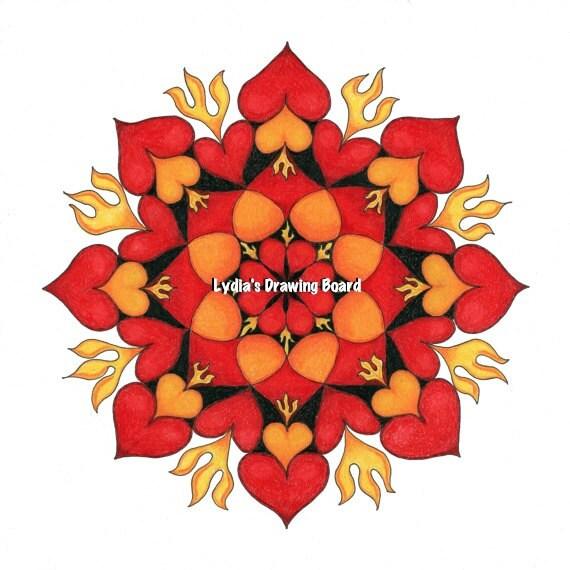 Note Cards, Notecards, Blank Cards, Valentine Card, Valentine, Cards, Love Cards, Mandala Art, Small Art, Mandala, Mandala Print, Heart Art