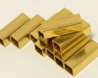 48 Pcs Raw Brass Geometric Square Tube 4x12 mm Findings