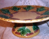 Majolica Pottery Grape Berries Leaves Footed Pedestal Antique Compote Tazza or Cake Stand Late 1800s