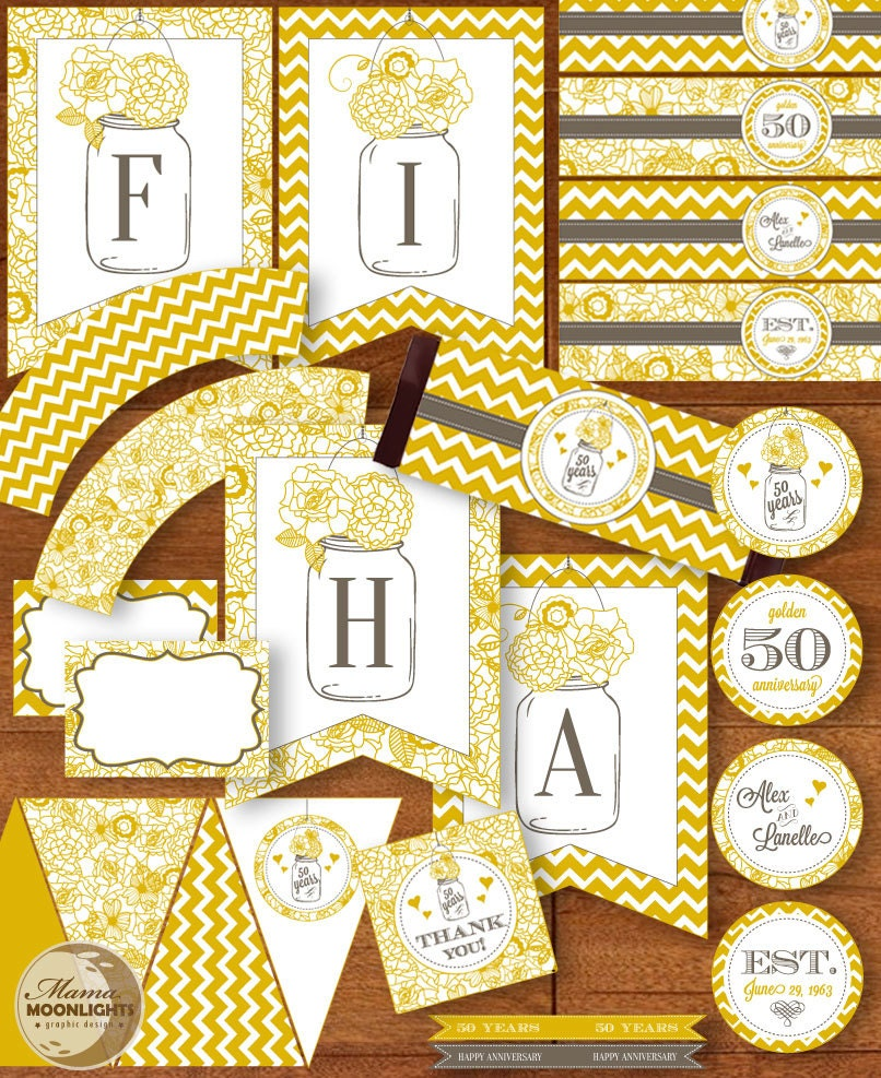 50th wedding anniversary party printable package vintage for 50th birthday decoration packages