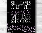 "Purple Sparkles and Glitter ""She Leaves a Little Sparkle"" Nursery Artwork - 8x10 INSTANT DOWNLOAD - SpoonLily"
