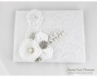 Wedding Lace Guest Book Custom Bridal Flower Brooch Guest Books in White