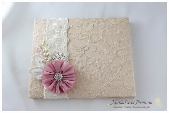 Wedding Lace Guest Book Custom Made in Tan, Champagne Ivory and Dusty Pink with Handmade Flowers, Brooches and Stamens' Accents