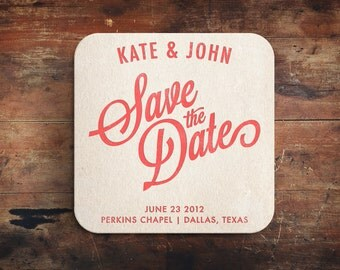 Simple Letterpress Save the Date Coaster