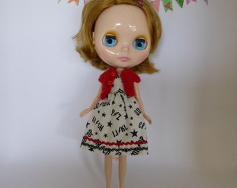 Hand Made Neo Blythe or Bratz Doll AC/DC Rock Print Dress with sparkle Ric Rac Trim and Matching Red Knitted Short Sleeve Cardy