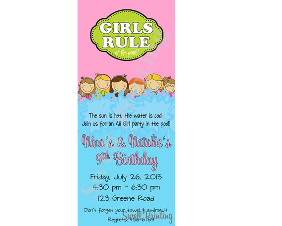 Girls only pool party invitation girls rule pool by - Female only swimming pool melbourne ...