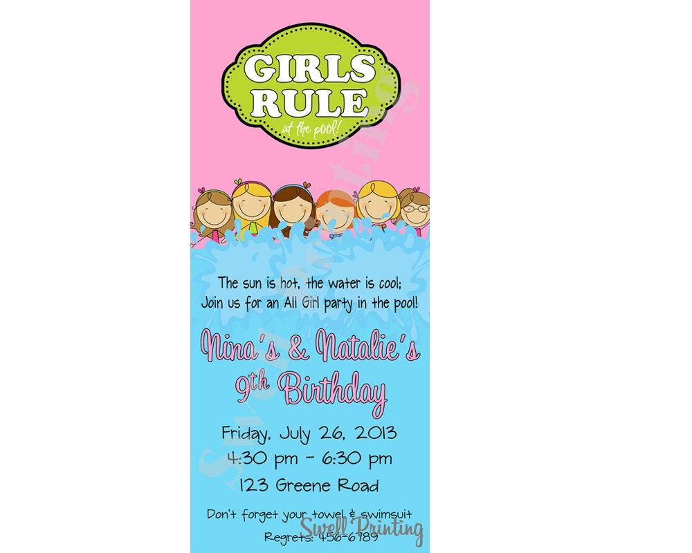 Girls Only Pool Party Invitation Girls Rule Pool Birthday