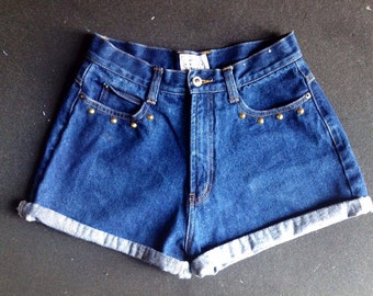 "28/29"" High Waisted Studded Shorts"