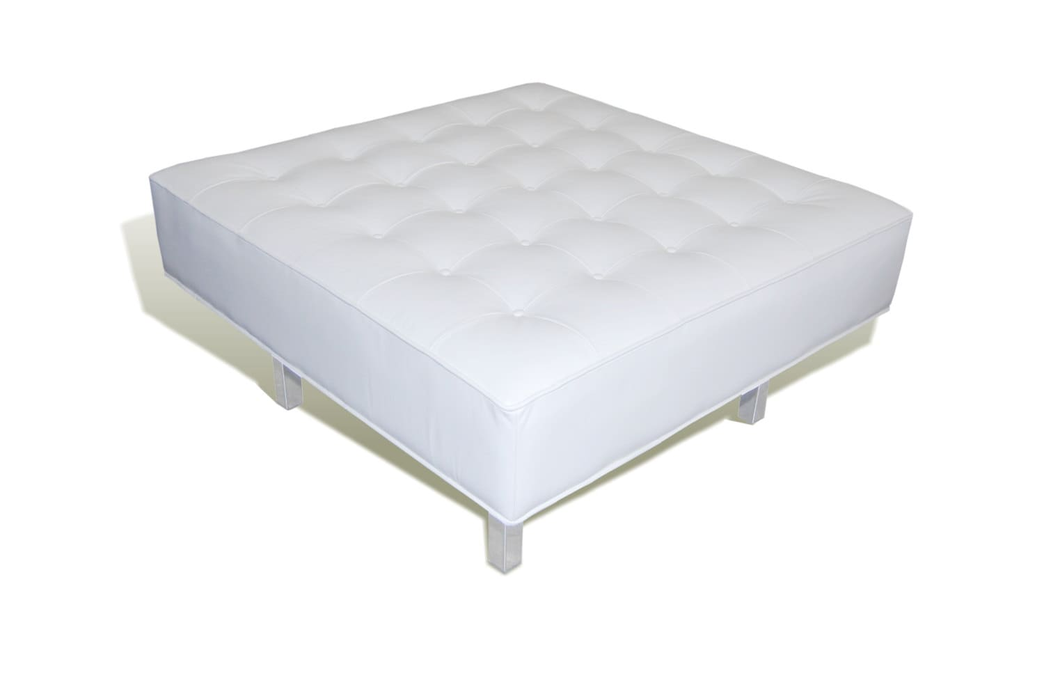 Contemporary Modern White Genuine Leather Tufted Bench Ottoman With Chrome Legs
