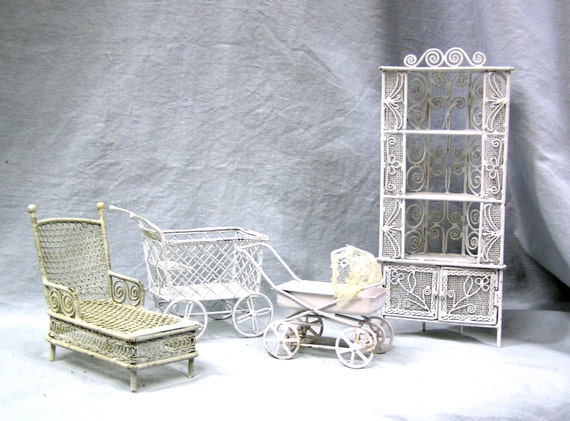 Vintage Miniature White Wire Baby Carriages Lounge Corner