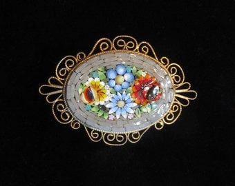 Vintage Italian Micro Mosaic Brooch with Scroll Metal Work Border