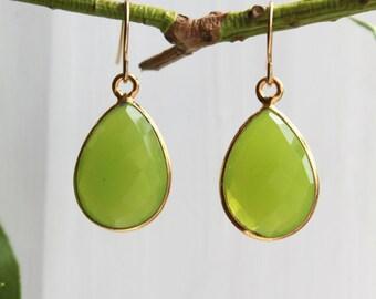 Dangle Earrings - Apple Chalcedony Gold Vermeil - Stone Earrings - Drop Earrings - Birthstone Earrings - Gemstone Jewelry