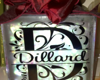 Personalized Wedding Lighted Glass Block