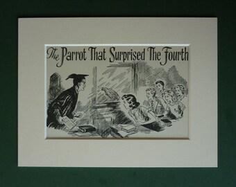 1954 Vintage Schoolgirl Print  - Parrot - Children's Illustration - Classroom - Teacher - Retro - Vintage Print - Parrot Print - Old Picture