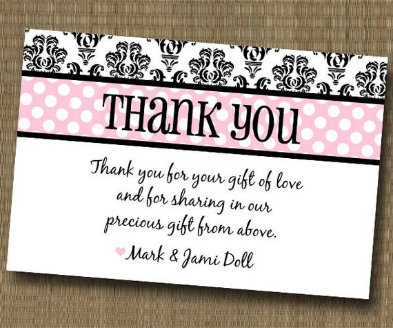 Damask Shabby Chic Thank You Card Baby Shower By