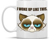 I woke up like this Cranky Cat mug, similar to Grumpy Cat (TM), Satire of Beyonce Mug, snarky motivational mug